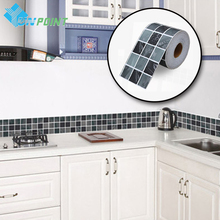 10cmX5m Creative Mosaic Wall Sticker PVC Self adhesive Decorative Film Waist line Wallpaper for Bathroom Kitchen Tile Waterproof(China)