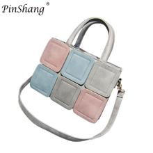 PinShang Women's Geometry Contrast Color Stitching PU Top Handle Satchel Handbag Square Shoulder Bag For Teenagers Girls ZK30(China)