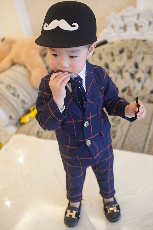summer Formal blue/gray plaid Boy Suit 2piece /Set Boy Plaid suit Jacket British coat+Pants suit Vestido Infantil