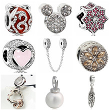 Btuamb Luxurious Crystal Bowknot Love Heart Snowflake Mickey Cartoon Beads Fit Pandora Charm Bangles Women DIY Making Jewelry(China)
