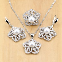 Freshwater Pearl With CZ Jewelry Sets Silver 925 Jewelry wedding Decoration For Women Earrings/Pendant/Ring/Necklace Set