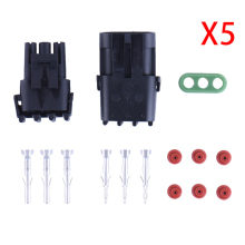 Hot  5 Sets Car Part Kit 3-Pin Way Automotive Seal Waterproof Electrical Wire Connector Adapter For Car Drop Shipping