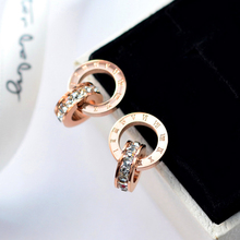 YUNRUO Top Brand Gold Silver Color Roman Numerals Zircon Stud Earring for Woman 316L Stainless Steel Fashion Jewelry Never Fade(China)