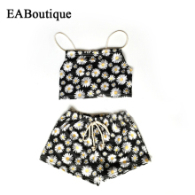 EABoutique Summer style floral daisy printed Beach Unique Back Belt design Toddler baby girl clothes set swimsuit 2 piece set