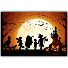 Halloween Poster Pumpkins, Black Cat, Witch's Broom Modern Cartoon Art Picture For Home Decoration Silk Poster and Prints QT053