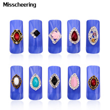 New Glitter Rhinestone Alloy Nail Art 10pcs/pack Flowers Hollow Nail Jewelry Accessories,Charm 3d DIY Nail Decoration Tools(China)