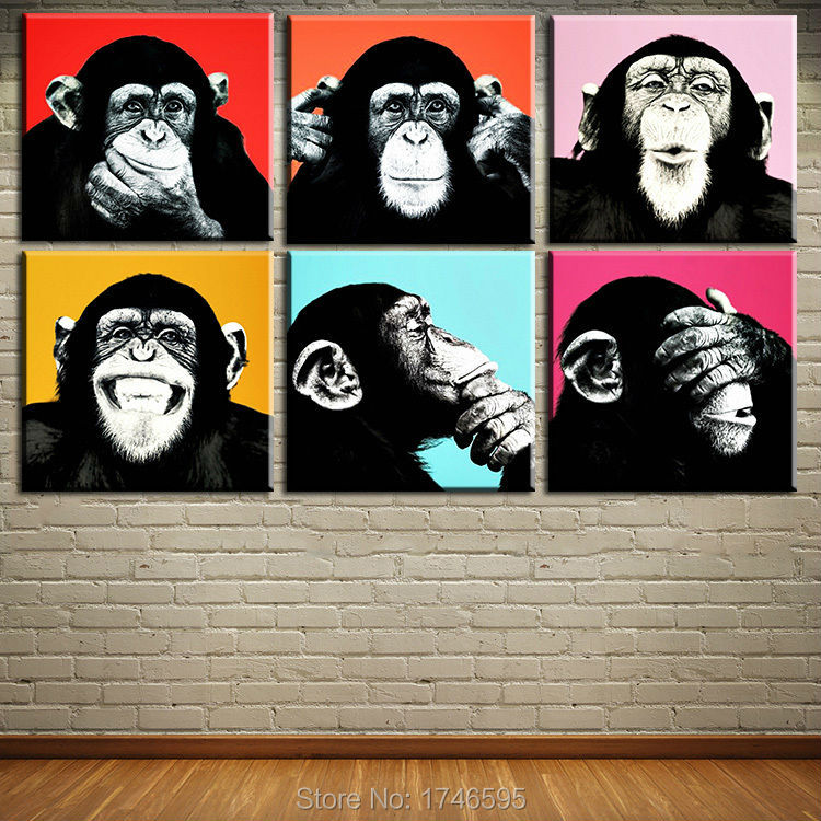 6pcs12x12, 16x16 inches print Andy Warhol monkey wall art picture painting on canvas for children bedroom decor kids wall art(China (Mainland))