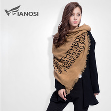 [VIANOSI] Fashion Letter Women Letter Thicken Winter Scarf Female Brand Soft Warm Foulard Shawl VS050(China)