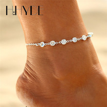 H:HYDE Vintage Fashion Imitation Pearl Crystal Anklets For Women Stainless Steel Shoe Boot Chain Bracelet Foot Jewelry 2017