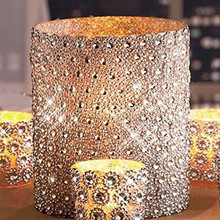 "Silver 3.75""*15FT(5Yards) 6Rows Sunflower Diamond Mesh Bling Crystal Ribbon Trim Wedding Cake Candle Decor"