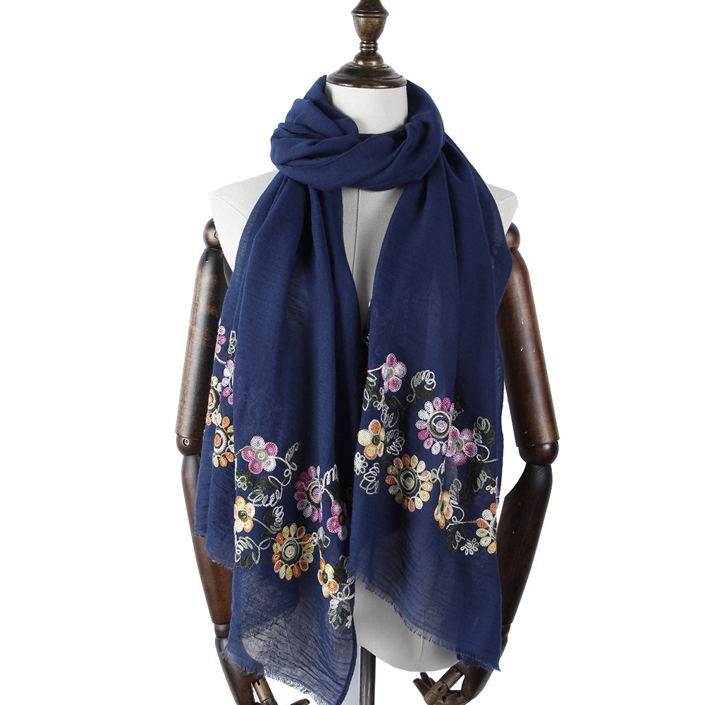 2018 Newest Women Floral Embroidery Pattern Cotton Fringe Scarf 12Colors 10PCS/LOT