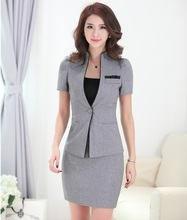 Summer Formal Female Skirt Suits for Women Business Suits Grey Blazer and Jacket Sets Office Uniform Styles
