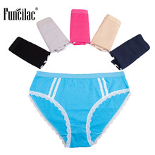 Buy FUNCILAC Underwear Fashion Plus Size Briefs Sexy Lace Panties Ladies Cotton Briefs Solid Girls Knickers Underpants 5Pcs/Lot