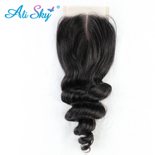 Ali Sky Malaysian nonremy Loose Wave Closure 4x4 Free Part  Human Hair Weaving Swiss Lace Medium Brown Can Be Dyed