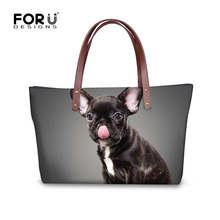 FORUDESIGNS French Bulldog Messenger Bags for Women Luxury Designer Female Big Cross-body Bags Casual Ladies Shoulder Bags(China)