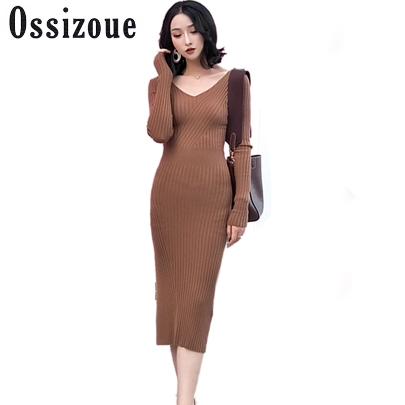 Fashion Casual Sexy V Neck Club Women Dress Slim Bodycon Knitted Sweater Long Party Night Dresses Autumn Elastic VestidosÎäåæäà è àêñåññóàðû<br><br>