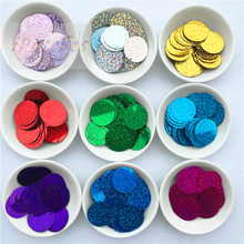 192Pcs 25mm Laser Large Sequins pvc flat round loose sequin Paillettes Sewing wedding craft Belly Dancing Dress Accessories