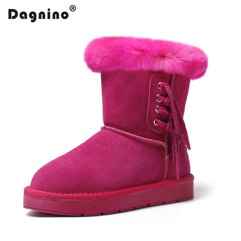 DAGNINO Woman Winter Warm Rabbit Hair Flat Ankle Boots For Womens Rose Red Genuine Leather Fur Snow Boots Fashion Tassel Shoes<br>