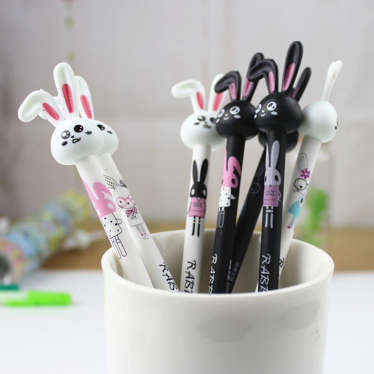 48 Pcs/lot Korean Cartoon Black and White Long Ear Rabbit Neutral Pen 0.38mm Black Signature Pen Rub Erasable Gel Neutral Pen<br>