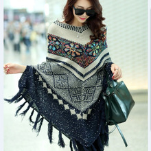 Women Cape Poncho Sweater 2016 New Autumn Winter Vintage Bohemian Tassel Bawing Sleeve Printed Knitted Cape Sweater Outwear C578