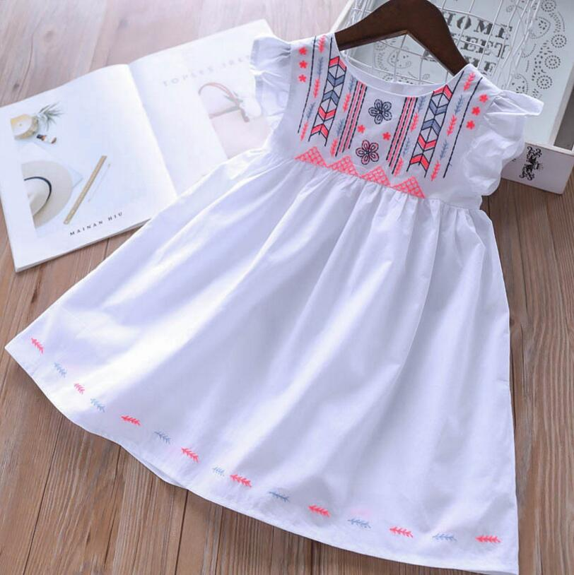 Baby Summer Dress 2019 New White Girls Dresses Cotton Embroidery Kids Party Dress Sweet Childrens Clothes Princess Costumes