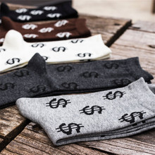 Novelty Men's Dollar Patterned Long Socks Japanese Harajuku Male Money Dollar Cotton Socks Funny Creative Casual Sock(China)