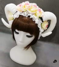 Lolita Fancy Dress Sheep Horns Headband With Rose Flowers Lace Halloween Headwear Costume accessory