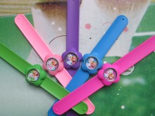 TOP Quality Quartz Watch Kids Cartoon Watches elsa and anna silicone Band slap Watch Relogio(China)