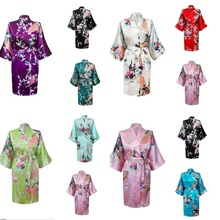 RB014 NEW Summer Style Chinese Women's Silk Rayon Robe Kimono Bath Gown Nightgown S M L XL XXL Bridal Floral Print Robes(China)
