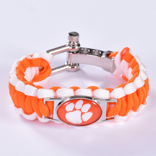 Clemson Tigers Custom Paracord Bracelet NCAA College Football Bracelet Survival Bracelet,Drop Shipping! 6Pcs/lot!