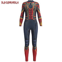 6c260a71cc8 RAISEVERN New Spiderman Costume 3D Printed Skull Rose Women Long Jumpsuit  Spider-man Costume For
