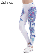 Zohra Brand Fashion Women Legins Mandala Feathers Printing Sexy Slim Stretch Legging High Waist Leggings Woman Pants