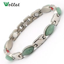 Wollet Jewelry Christmas Gift 4 in 1 Negative Ion Infrared Germanium Women Titanium Magnetic Stone Bracelet