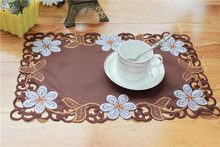 HOT brown satin cotton embroidery table place mat lace pad cloth cup holder coaster placemat doilies dining kitchen utensils