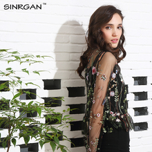 SINRGAN Embroidery Blouse Shirt Women TopsBlusas Transparent Mesh Long Sleeve Blouses 2017 New Summer Blouse Chemise Femme(China)