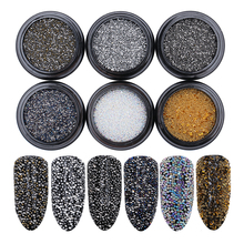6Pcs 0.8mm Mini Crystal Sand Beads Set 6 Colors Rhinestone 3D Decoration Manicure DIY Nail Art Decoration Accessories Body Art