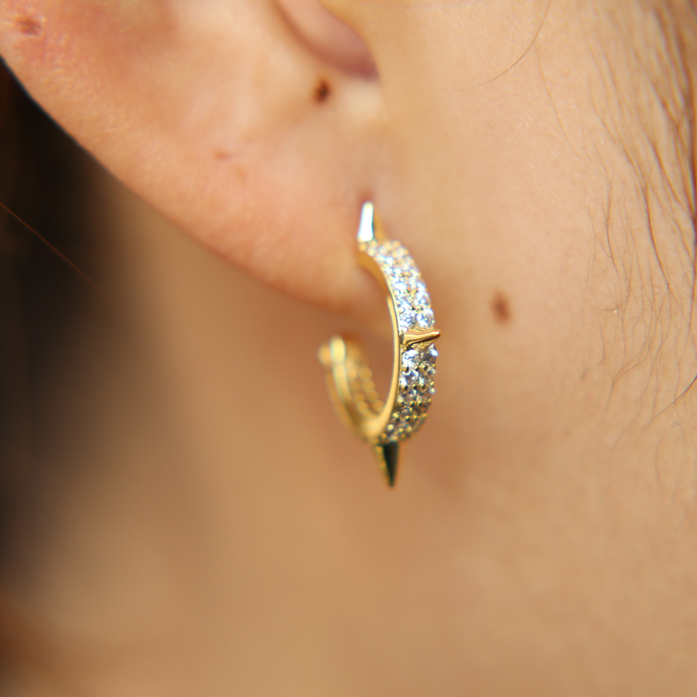 925 Sterling Silver AAA Zircon Asymmetric Dinosaur Earrings