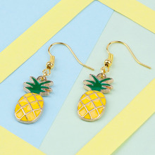 "DoreenBeads Ear Hook Earrings Gold Color Pineapple /Ananas Fruit Yellow & Green Enamel 43mm(1 6/8"") x 12mm( 4/8""), 1 Pair"