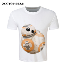 Star wars BB8 Print T shirt Men2016 Funny Harajuku Short Sleeve Plus Size T-shirt Casual Brand Clothing Male camisa ZOOTOP BEAR