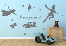Cartoon figure Peter Pan Never grow up tinkerbell removable wall decal art mural wall stickers kids home decoration(China)