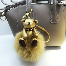 Pretty Doll Leather Bear Keychain Bling Pom Pom Rex 13 cm Fox Fur Ball Key Chain Bag Charm Phone Car Hanging Ornament Girl Gift