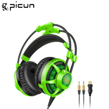 Picun G6 Surround Virtual Sound Gaming Headset USB Wired Headband Headphone With Microphone LED Vibration for PC Laptop