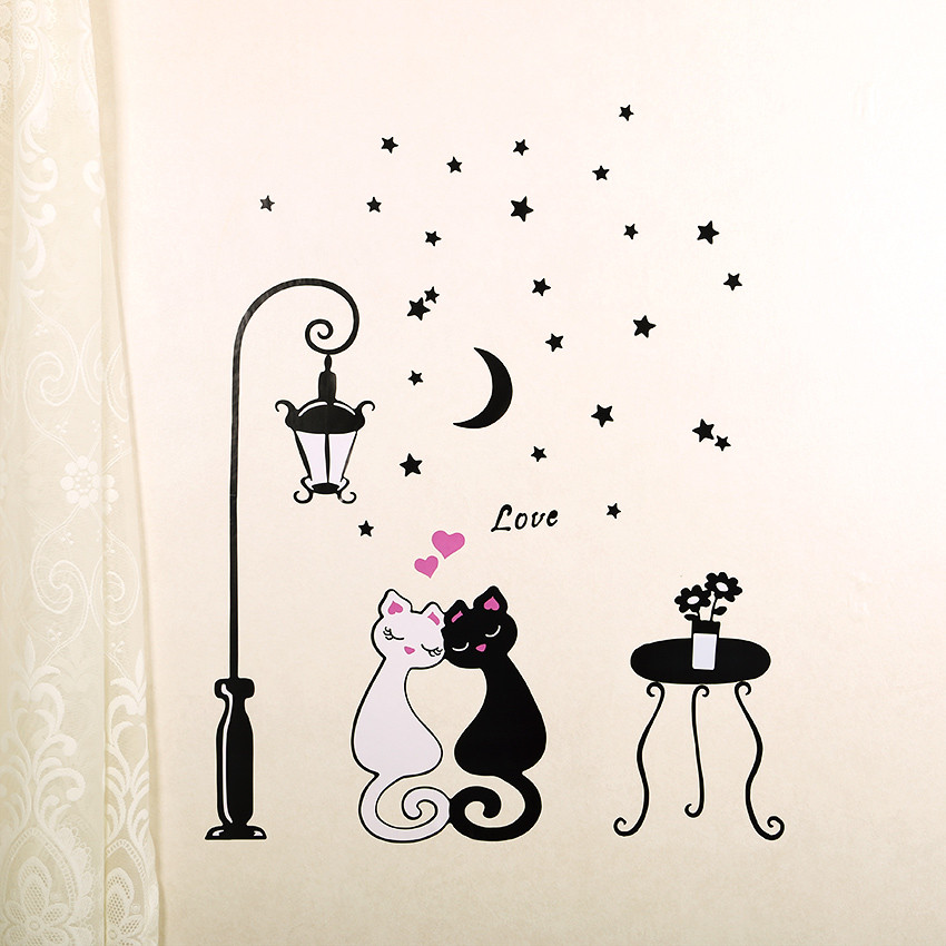1 pcs Cute Cartoon Couple Cat Flower Vine 3D Wallpaper 1 pcs Cute Cartoon Couple Cat Flower Vine 3D Wallpaper HTB1