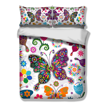 3pcs 3D Colorful butterfly bedding set Flower grass bed linen green plant leaf duvet cover bed sheet AU/USA/UK Single queen king