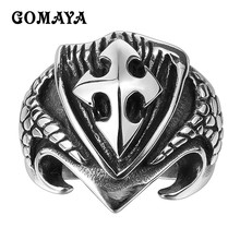GOMAYA Mens 316L Stainless Steel Rings Cross Punk Vintage Retro Biker Classic Rings for Men and Women Anillos Fashion Jewelry(China)