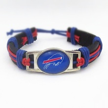 10PCS American Football Buffalo Bills Sport Team Real Leather Adjustable Bracelet Jewelry For Fans Charm Bangle(China)