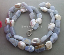 Beautiful! Bead-Nucleated Pearl&Blue Chalcedony Necklace