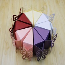 Fashion 10 pcs Triangle butterfly paper candy chocolate gift box for wedding birthday party favor Cake Shape Boxes