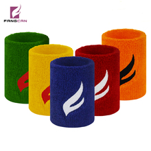 FANGCAN basketball sweatband 8*8cm high quality wrist support embroidery logo terry wristband(China)