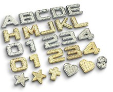 1PC 30mm Bling Crystal Diamond Sticker Figure Alphabet Decor Metal Car Decoration Accessories car styling